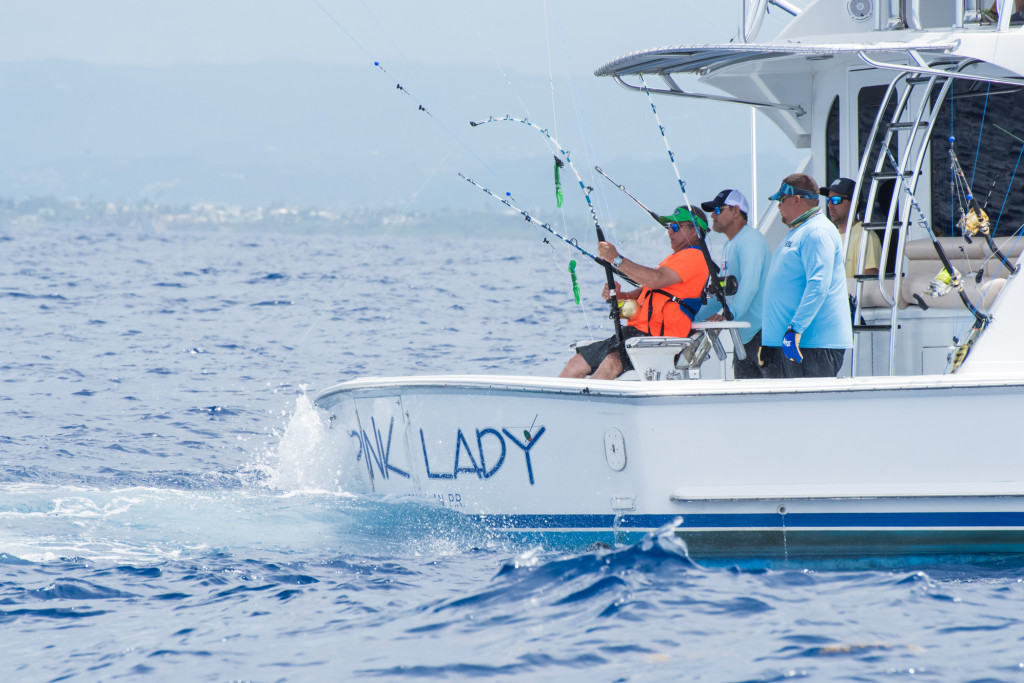 The CNSJ 66thIBT - 66th International Billfish Tournament - runs from August 12 - 18, 2019. Day two fishing action out at sea. Aboard the Pink Lady, Dr. Felix Del Rio release a blue marlin.