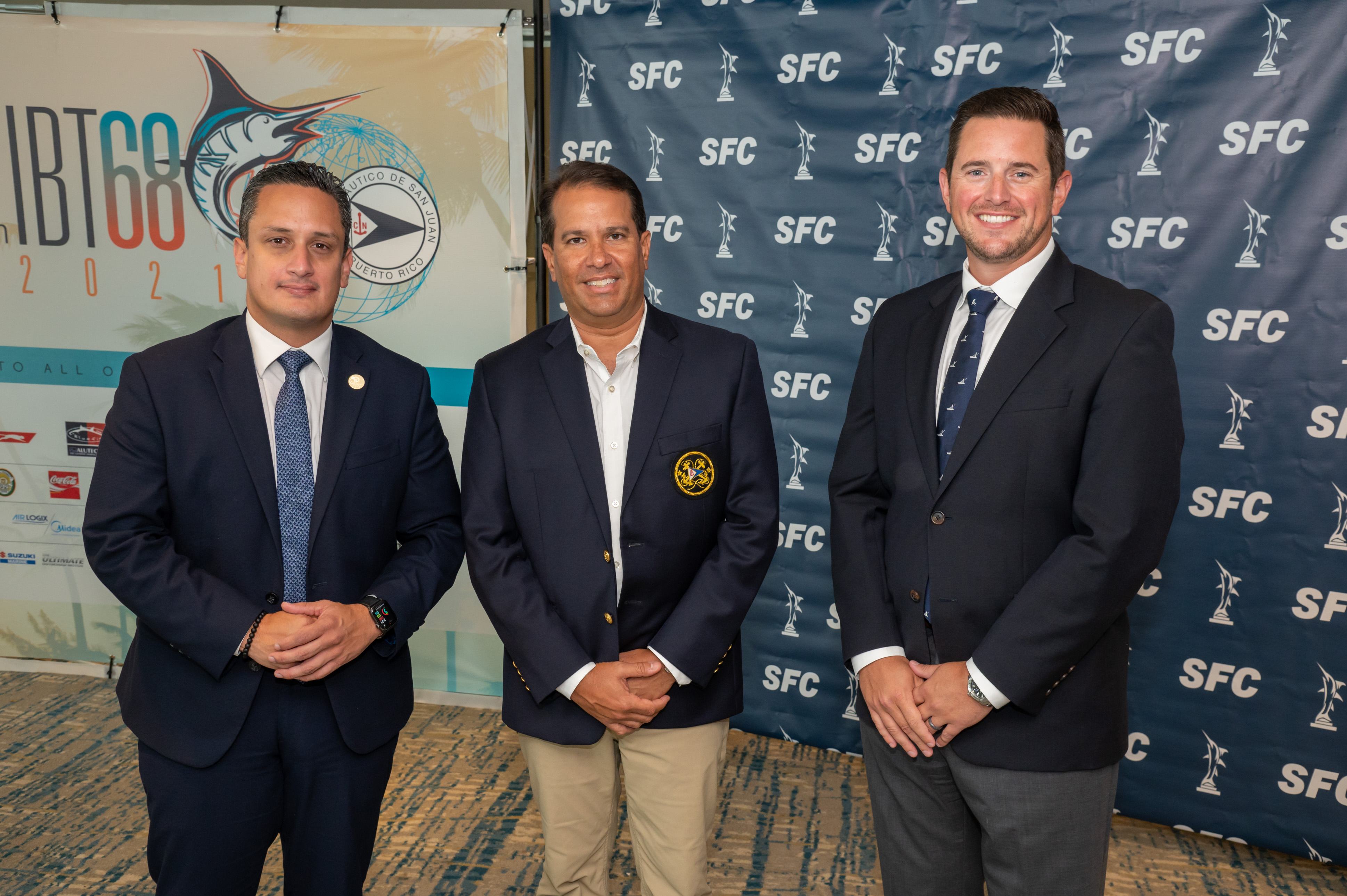 08.16.21 press conference for the CNSJ 68thIBT - 68th International Billfish Tournament , which runs from August 17 - 21, 2021. Left to right: Secretary of the Puerto Rico Tourism Department, Carlos mercado, IBT Chairman, Roger Casellas and Mark Neifeld.